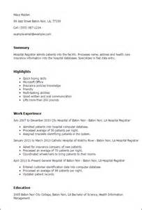 Sle Resume For Hospital Housekeeping by Registrar Resume