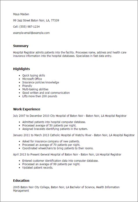 Hospital Resume Professional Hospital Registrar Templates To Showcase Your Talent Myperfectresume