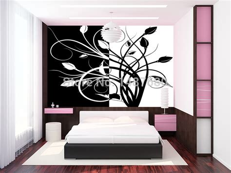 Wallpaper Sticker Motif Minimalis Black Square aliexpress buy any size abstract black and white pattern large mural wallpaper bedroom