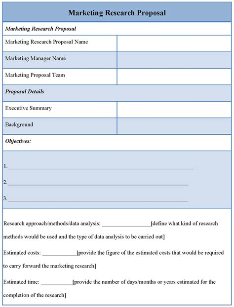 market research template template for marketing research format of