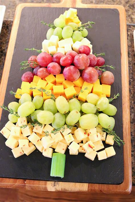 fruit and cheese christmas tree appetizer food craft ideas