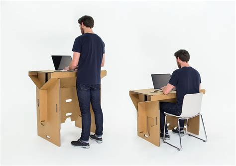 portable standing desk kickstarter this clever cardboard desk is recyclable portable and