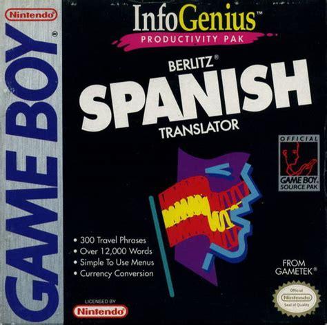 berlitz language spanish flash berlitz spanish language translator usa rom gt gb gameboy loveroms com