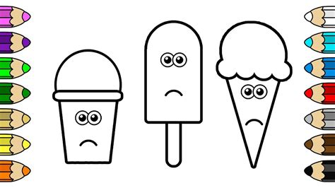 coloring  kids  crying ice cream popsicle