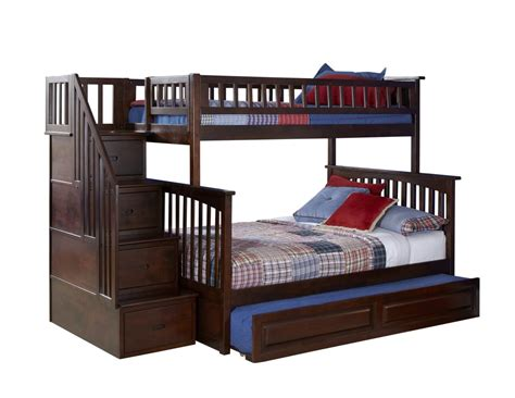 Bedding For Bunk Beds 2050 10 Columbia Staircase Bunk Bed Raised Panel Trundle Antique Walnut