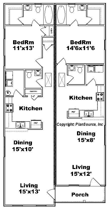 One Bedroom Duplex plan J0814 12d   PlanSource, Inc
