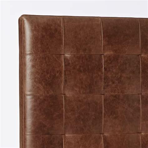 tall leather headboard tall leather grid tufted headboard west elm