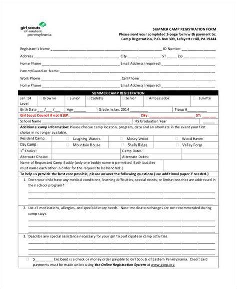 Summer C Registration Form Doc Mysummerjpg Com Youth Football Registration Form Template