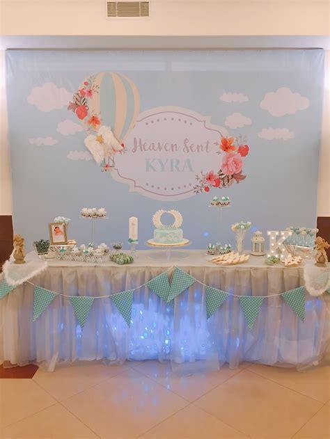 Heaven sent angel   backdrop and dessert table   Heaven