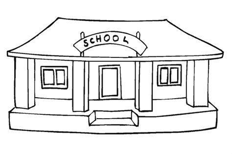 coloring page school building school colouring pages for kids