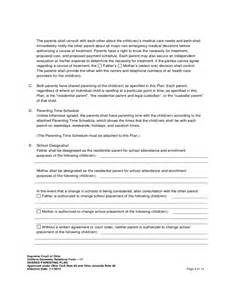 Shared Parenting Plan Template by Shared Parenting Plan Free