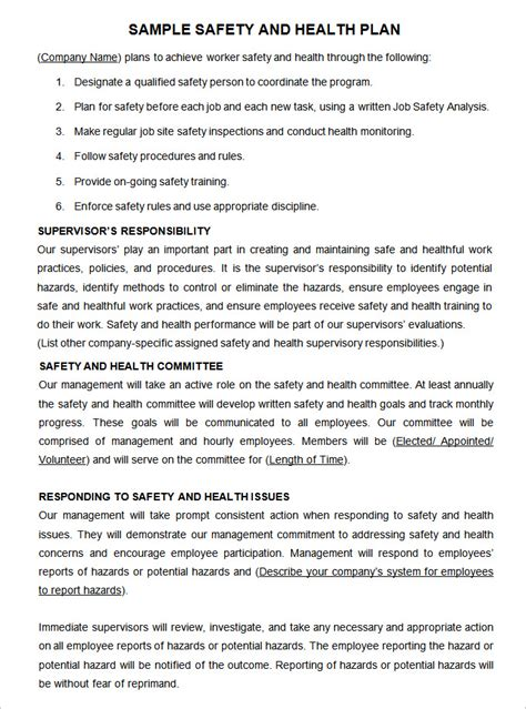 workplace safety templates construction safety plan template 17 free word pdf