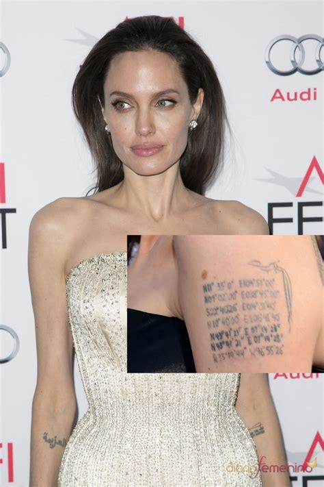 tatuajes en el brazo las coordenadas de angelina jolie