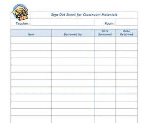 Sign Out Sheet Template by Classroom Sign Out Sheet Template