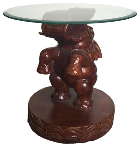 elephant accent table elephant glass end table traditional side tables and