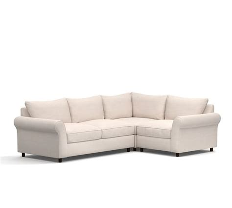 pottery barn comfort sectional pb comfort roll arm upholstered 3 piece sectional with