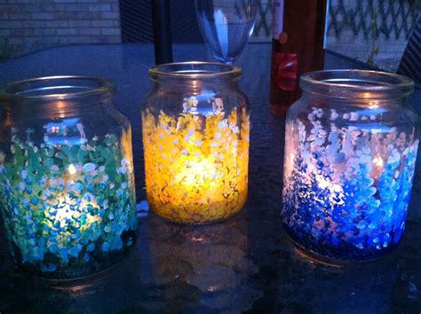 Painting Glass Jars by Painted Jam Jars With Citronella Candles Diy And Crafts