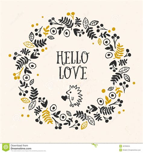 hand drawn lettering tutorial illustrator hello love greeting card with lettering and flower wreath