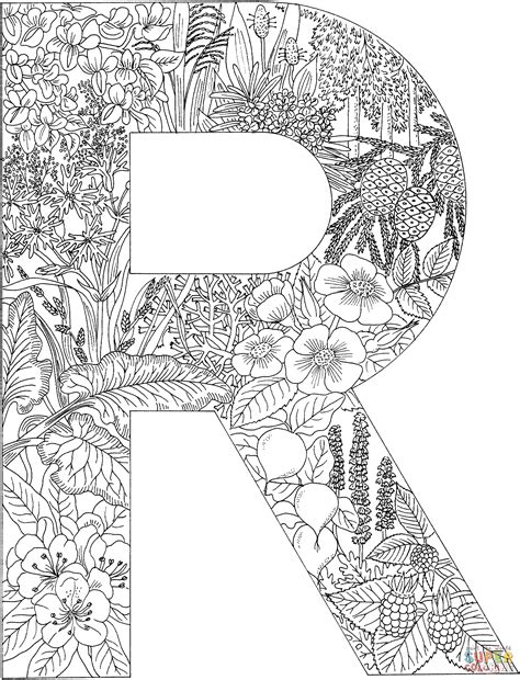 Letter R With Plants Coloring Page Free Printable The Letter R Coloring Pages