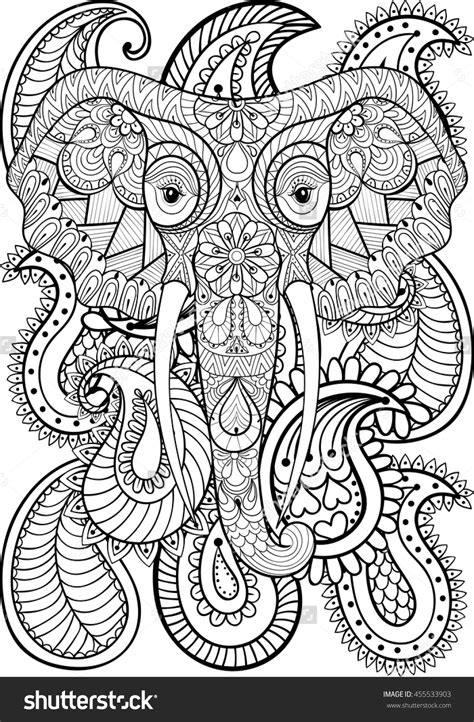 elephant pattern coloring pages zentangle indian elephant on paisley pattern adult