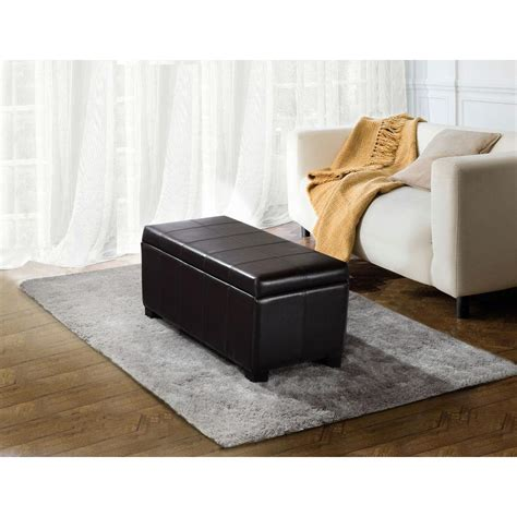 leather ottoman rectangular simpli home dover collection rectangular faux leather