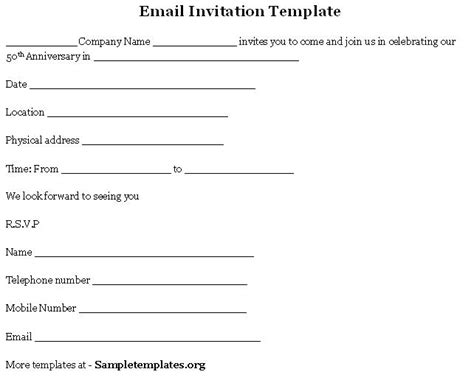 email invitation template free email template for invitation template of email