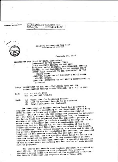 Memo General Format Jfkcountercoup General Counsel Of The Navy Memo 2 25 97