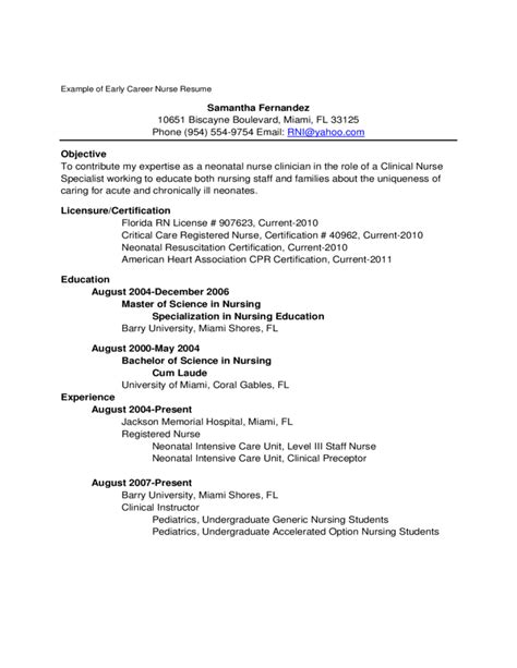 New Graduate Nursing Resume by Exle Of New Graduate Resume Free