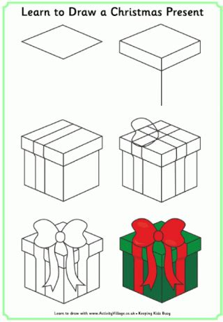christmas drawing step by step and gift to gift cartoon learn to draw pictures