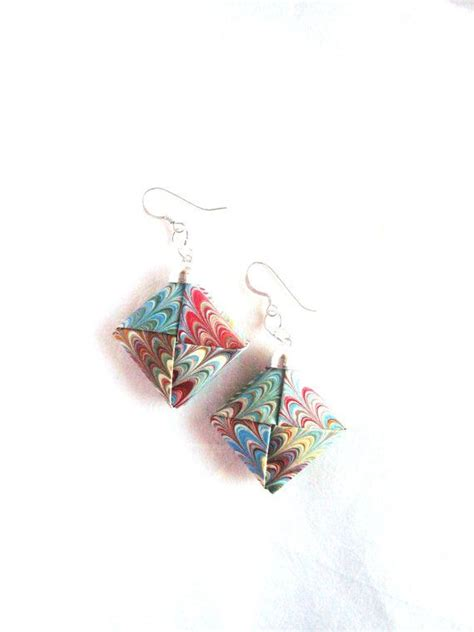 Origami Jewlery - marbled paper earrings paper origami jewelry