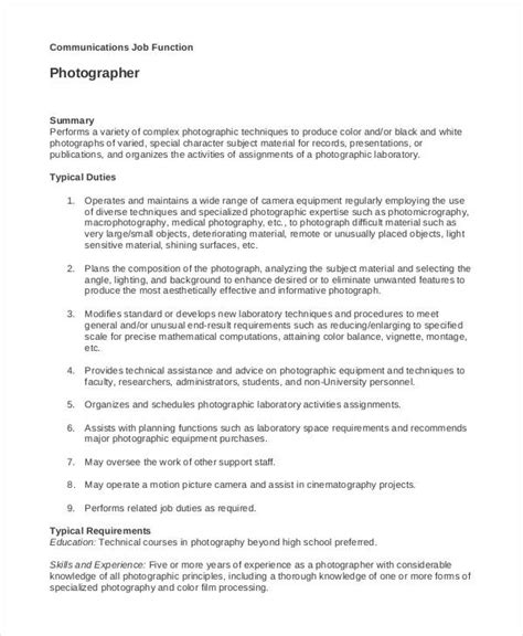 10 photographer job description templates pdf doc