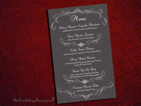 Table Menu Template printable flourish curlicue menu template custom design