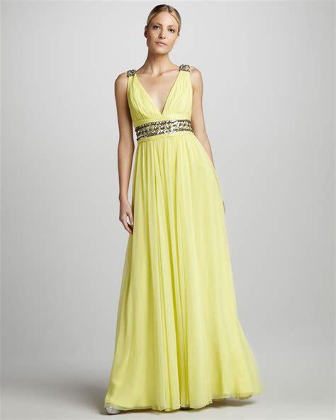 Yellow Bridesmaid Dress by Yellow V Neck Bridesmaid Dress Onewed