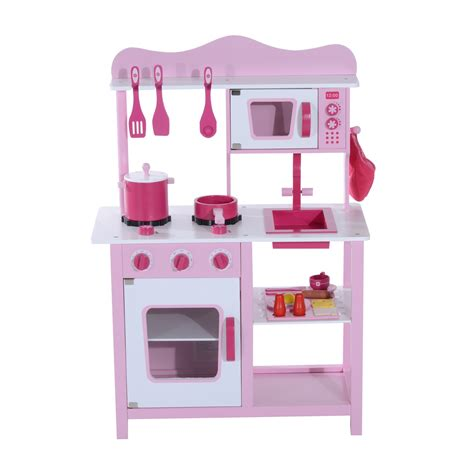 childrens wooden kitchen furniture homcom children wooden play kitchen furniture set pink ebay