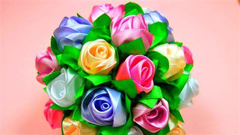 natali doma tutorial мастер класс бутоны роз в букет шар ribbon rose
