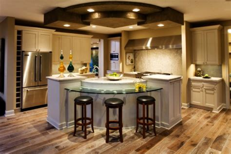 Center Island Designs For Kitchens Tremendous Center Kitchen Island Ideas With Curved Glass Breakfast Bar Also Counter Depth