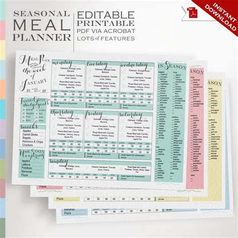 printable meal planning ideas 15 meal planner ideas notepad printable meal planners