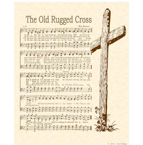 Hymn The Rugged Cross rugged cross 8 x 10 antique hymn print by