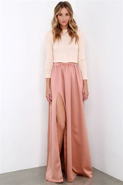 beautiful blush skirt maxi skirt slit skirt 62 00