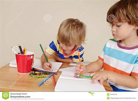 Paper With Children - children drawing stock image image of class
