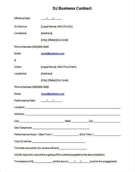 contract template dj wedding contract