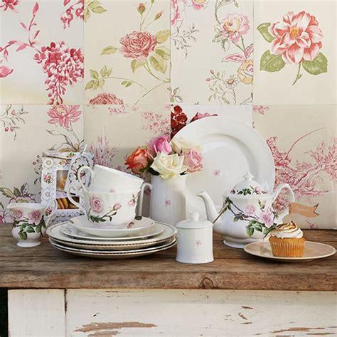shabby chic kitchen with floral wallpaper garden