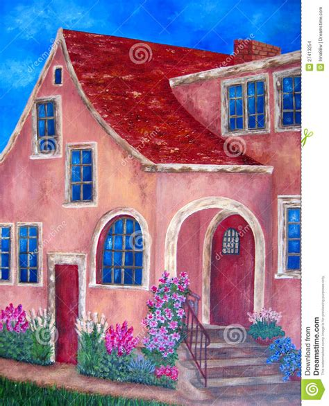 between days red house painters painting of house with blue windows and flowers stock