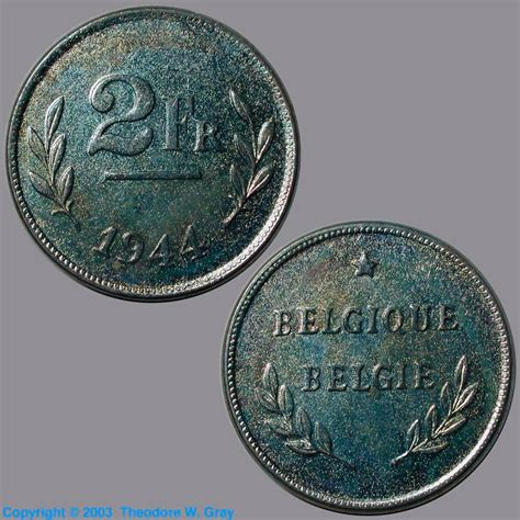 1944 zinc steel penny belgian 2 franc a sle of the element iron in the periodic table
