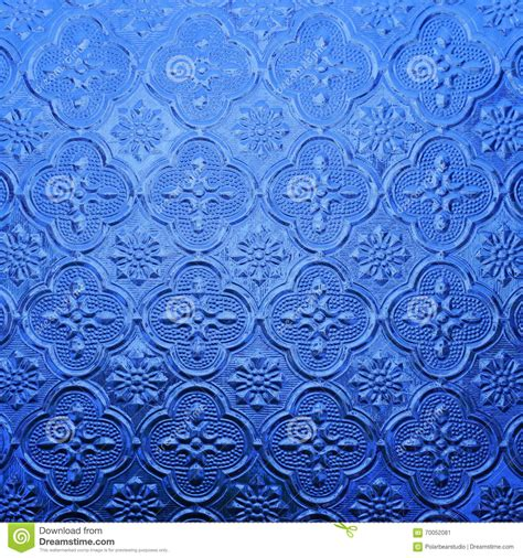 what color is glass blue color glass with thai pattern stock photo image