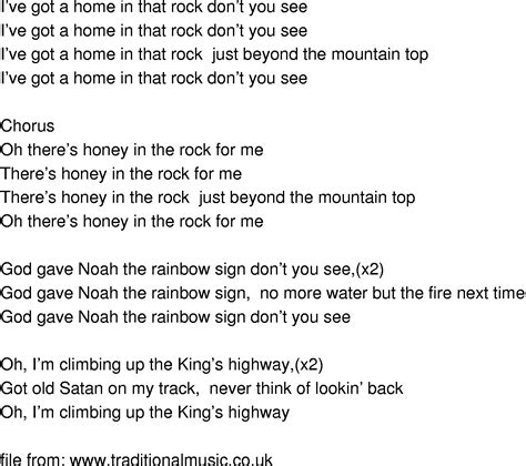 song rock time song lyrics honey in the rock