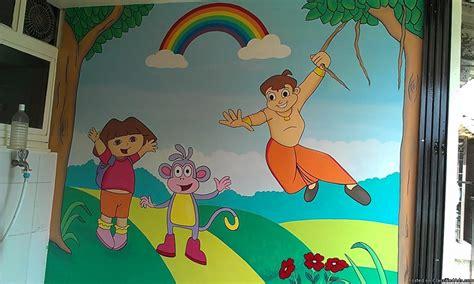 cartoon wall painting in bedroom play school or preschool kindergarten wall classroom
