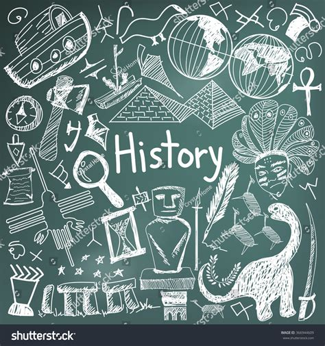 doodle history history education subject chalk handwriting doodle stock