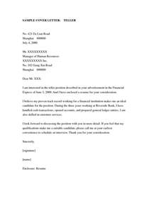 Cover Letter Format For Bank by Bank Teller Cover Letter Sle Sle Cover Letters