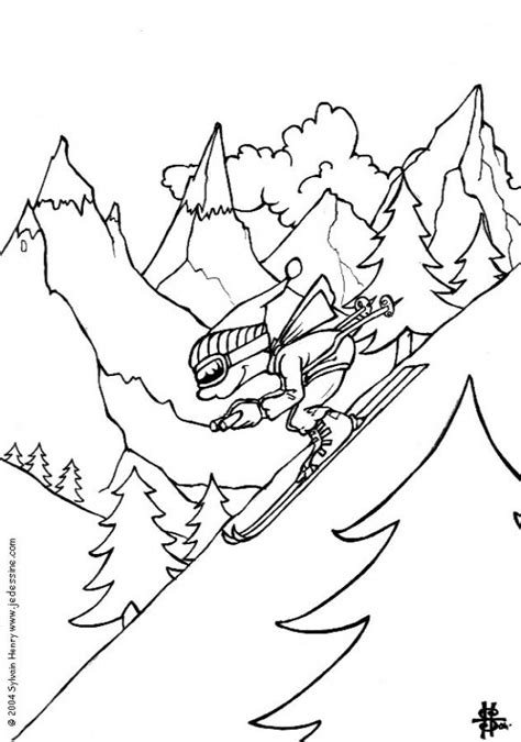 Boy Skiing Coloring Pages Hellokids Com Skiing Coloring Pages
